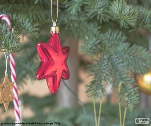 Puzzle Étoile de Noël rouge