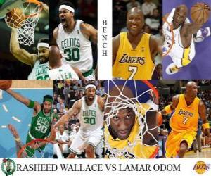 Puzzle 2009-10 NBA final, réservations, Rasheed Wallace (Celtics) vs Lamar Odom (Lakers)