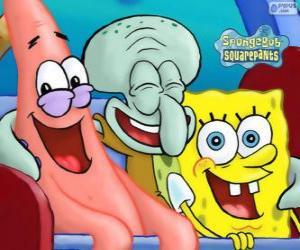 Puzzle Bob l'éponge et ses amis Patrick l'étoile de mer et Carlo Tentacules