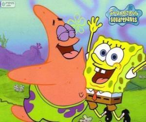 Puzzle Bob l'Eponge et Patrick très heureux