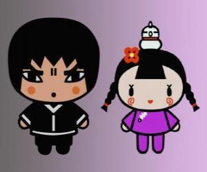 Puzzle Abyo et Ching, amie de Pucca avec sa poule Gwon et ami de Garu