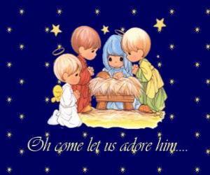 Puzzle Adorant l'enfant Jésus. Precious Moments