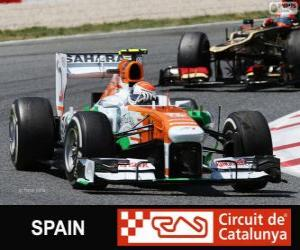 Puzzle Adrian Sutil - Force India - Circuit de Catalunya, Barcelone, 2013