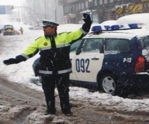Puzzle Agent de la police en arrêtant le trafic