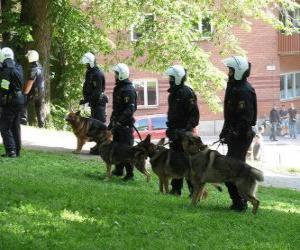 Puzzle Agents de la police anti-émeute avec des chiens
