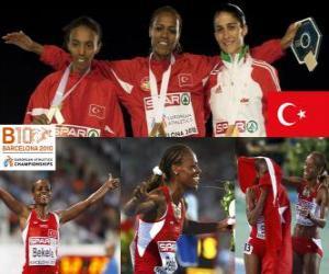 Puzzle Alemitu 5000 m champion Bekele, Elvan Abeylegesse et Sara Moreira (2e et 3e) de l'athlétisme européen de Barcelone 2010