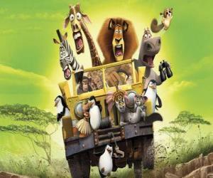 Puzzle Alex, le lion volant d'une jeep avec ses amis, Gloria, Melman, Marty et les autres protagonistes de l'aventure