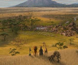 Puzzle Alex, Marty, Melman, Gloria a observé les immenses plaines de l'Afrique