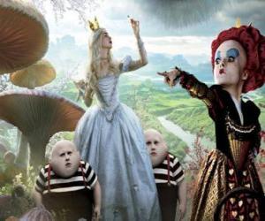 Puzzle Alice, avec les jumelles et la Reine Rouge