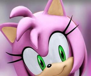 Puzzle Amy Rose est un hérisson rose avec des yeux verts, est follement amoureuse de Sonic