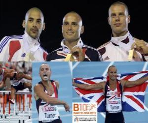 Puzzle Andy Turner 110m haies champion, Garfield Darien et Daniel Kiss (2e et 3e) de l'athlétisme européen de Barcelone 2010