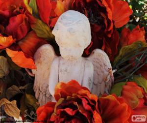 Puzzle Ange parmi les fleurs