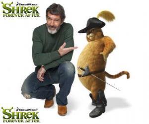 Puzzle Antonio Banderas est la voix de le Chat Potté dans le dernier film Shrek 4 ou Shrek, il était une fin