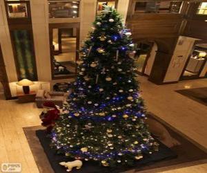 Puzzle Arbre de Noël décoré avec des ornements étincelants