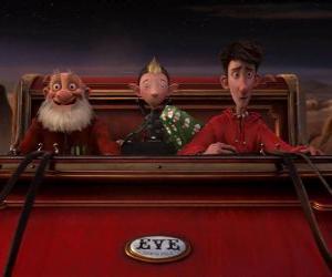 Puzzle Arthur Noël, Grand-père Noël et Bryony sur le traîneau vieux prêt à distribuer le dernier don