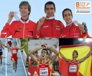 Puzzle Arturo Casado 1500 m champion, Carsten Schlangen et Manuel Olmedo (2e et 3e) de l'athlétisme européen de Barcelone 2010