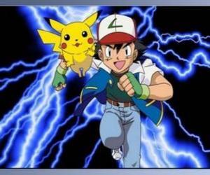 Puzzle Ash, formateur de pokémon, avec son premier Pokémon Pikachu