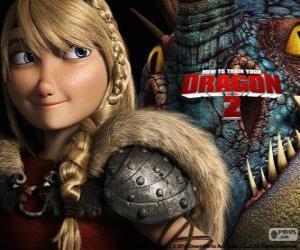 Puzzle Astrid avec son dragon ailé Stormfly, Dragons 2