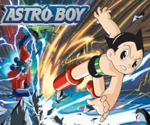 Puzzle Astro voler grâce à ses superpouvoirs, ses jambes transformée en jets de fusées