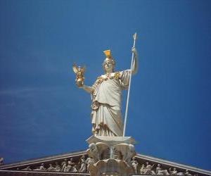 Puzzle Athéna ou Athéné, dans la mythologie grecque, déesse de la sagesse, la stratégie et la guerre juste