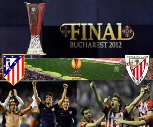 Puzzle Atlético Madrid vs Athletic Bilbao. Finale Europe Ligue 2011-2012 dans le stade National de Bucarest, Roumanie