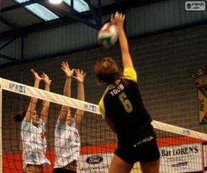 Puzzle Attaque sur le réseau et la tentative de bloquer la défense dans un match de volley-ball