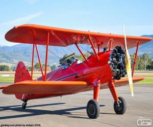 Puzzle Avion biplan rouge
