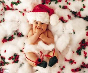 Puzzle Bébé avec un chapeau de Père Noël