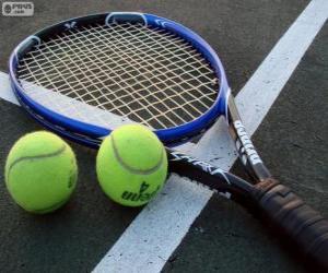 Puzzle Balles et raquette de tennis