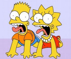 Puzzle Bart et Lisa crier