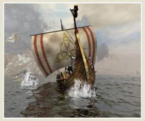 Puzzle Bateau viking ou drakkar à voile gonflée par le vent