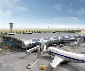 Puzzle Bâtiment de la terminal d'une aérogare avec les avions