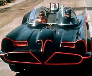 Puzzle Batman et Robin dans son Batmobile