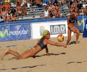Puzzle Beach Volley - Lecteur de sauver une balle dans les yeux de son compagnon
