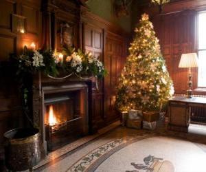 Puzzle Belle cheminée décorée pour les fêtes de Noël