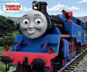 Puzzle Belle, la grande et courageux  bleu locomotive a deux canons à eau pour éteindre les incendies
