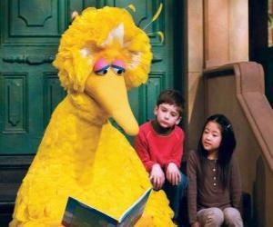 Puzzle Big Bird ou lire un livre de contes
