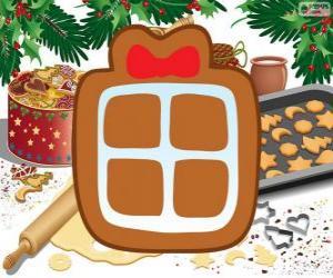 Puzzle Biscuit avec la forme d'un cadeau de Noël