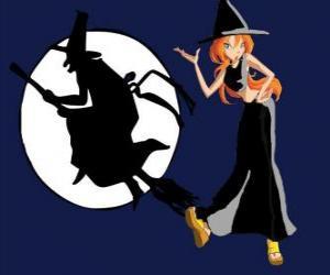 Puzzle Bloom avec un costume de sorcière