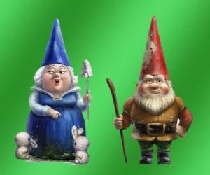 Puzzle Blueberry Lady et Lord mère Gnomeo Redbrick père de Juliette et les dirigeants des deux jardins rival