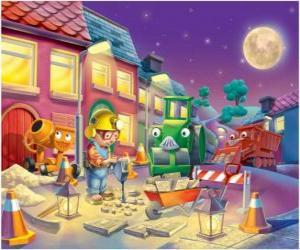 Puzzle Bob et ses amis à trabajano nuit, la réparation d'une rue de ville