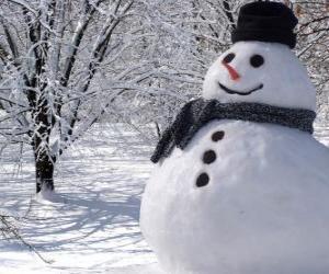 Puzzle Bonhomme de neige avec chapeau et écharpe