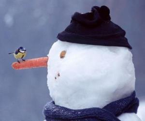 Puzzle Bonhomme de neige avec un oiseau sur le nez