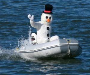 Puzzle Bonhomme de neige dans un bateau