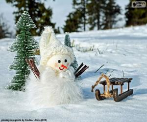 Puzzle Bonhomme de neige et traîneau
