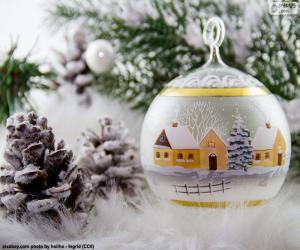 Puzzle Boule de village d'hiver