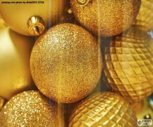 Puzzle Boules d'or pour Noel