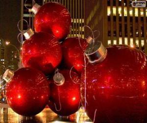 Puzzle Boules de Noël rouge