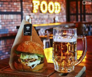 Puzzle Burger et la bière