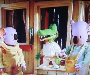 Puzzle Buster et Frank avec son ami le crocodile Archie